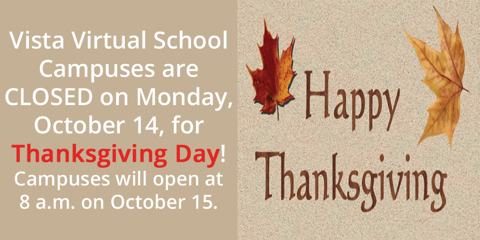 Campuses Closed October 14 for Thanksgiving Day