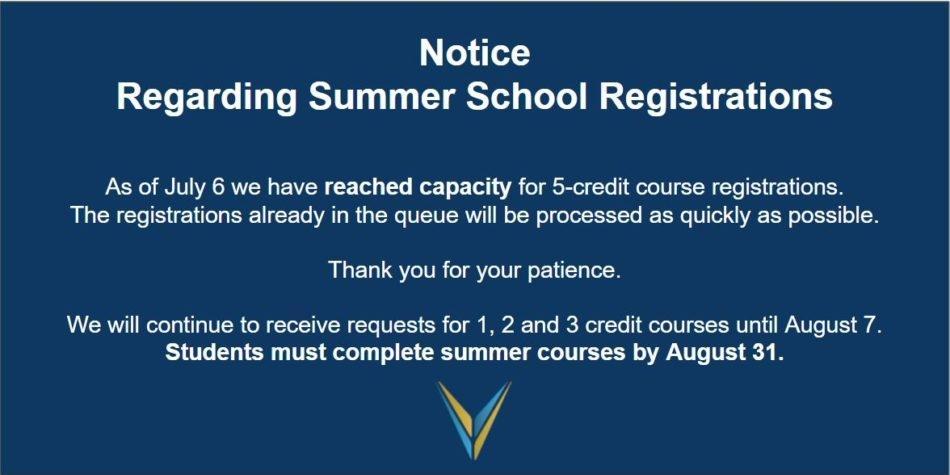 Notice – Summer Registrations at capacity