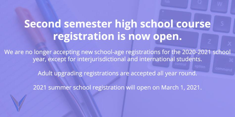 Second Semester Registration Open